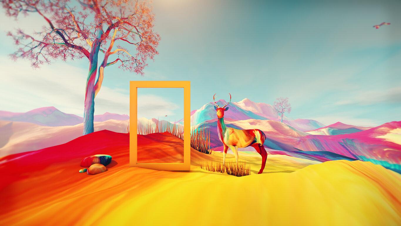 Fantasy: Digital Art, Tree, Deer