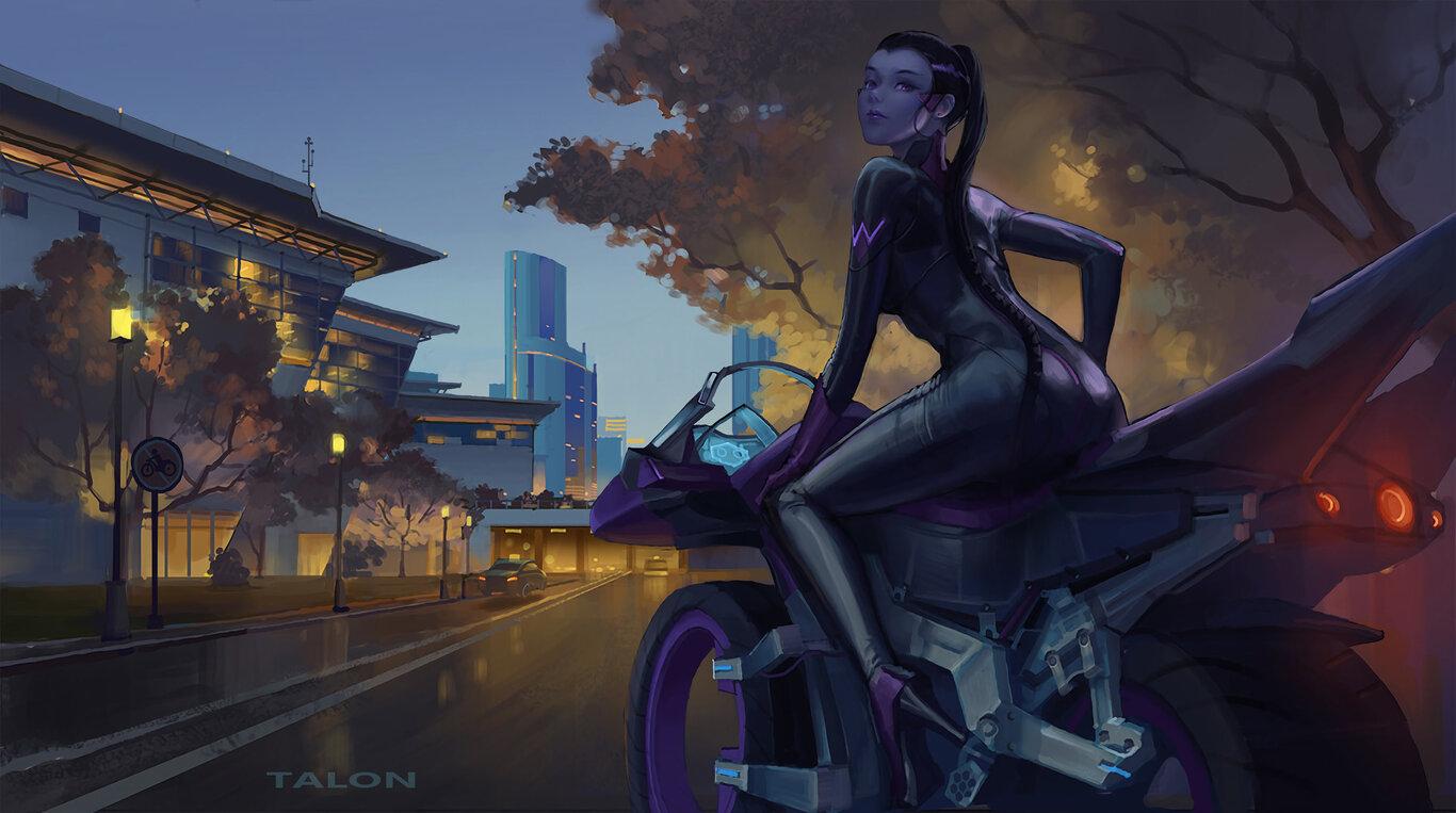 Overwatch: Міста, Purple Eyes, Purple Hair, Motorcycle, Widowmaker, Leather, Ponytail, High Heels, Amélie Lacroix