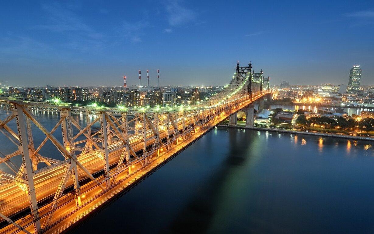 Bridge: City, USA, New York, Twilight, Queensboro Bridge, Sutton Place
