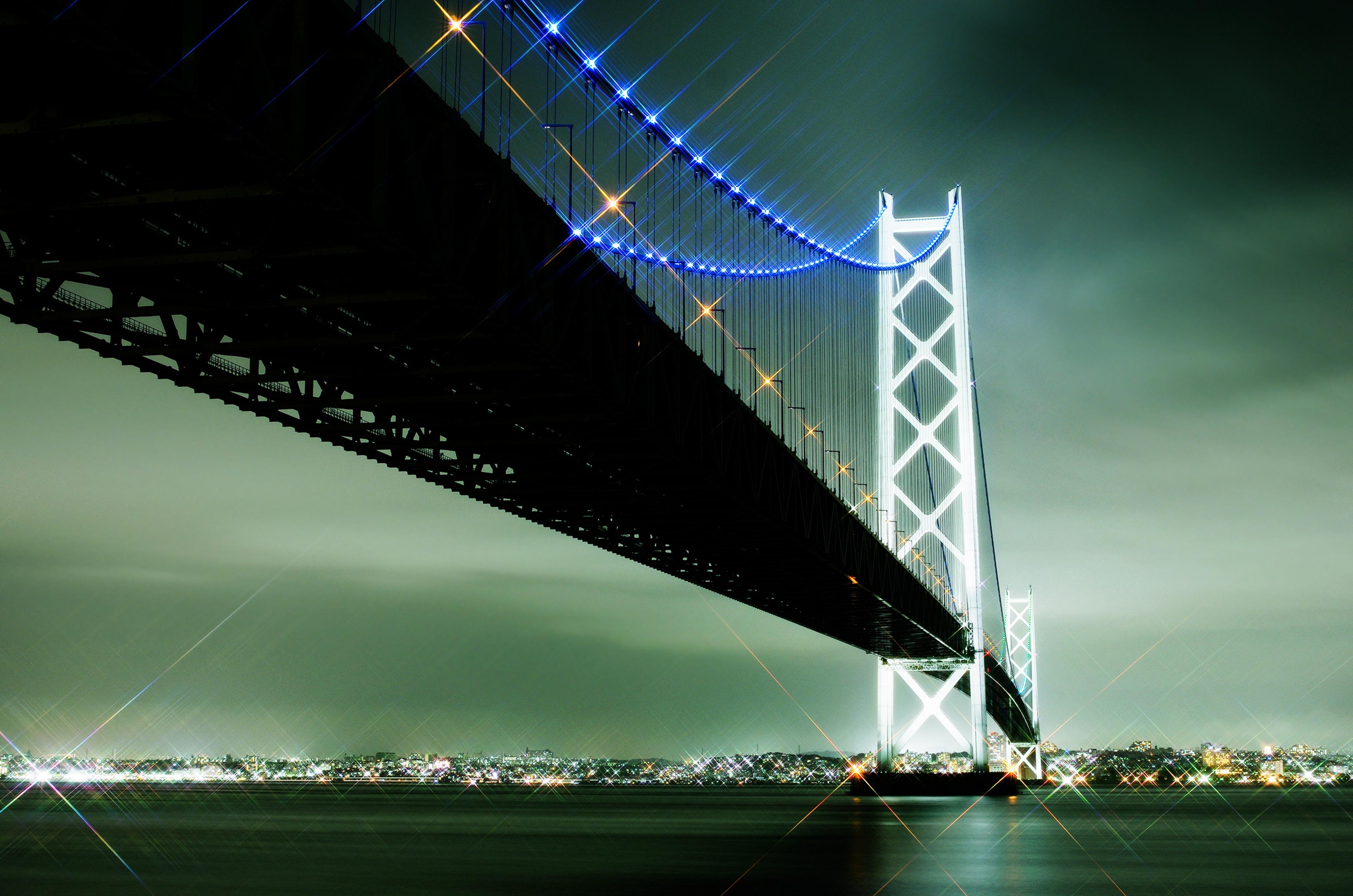 Akashi Kaikyo Bridge: Bridge, Light, Night, Japan, Sea, City, Akashi Kaikyō Bridge, Kobe