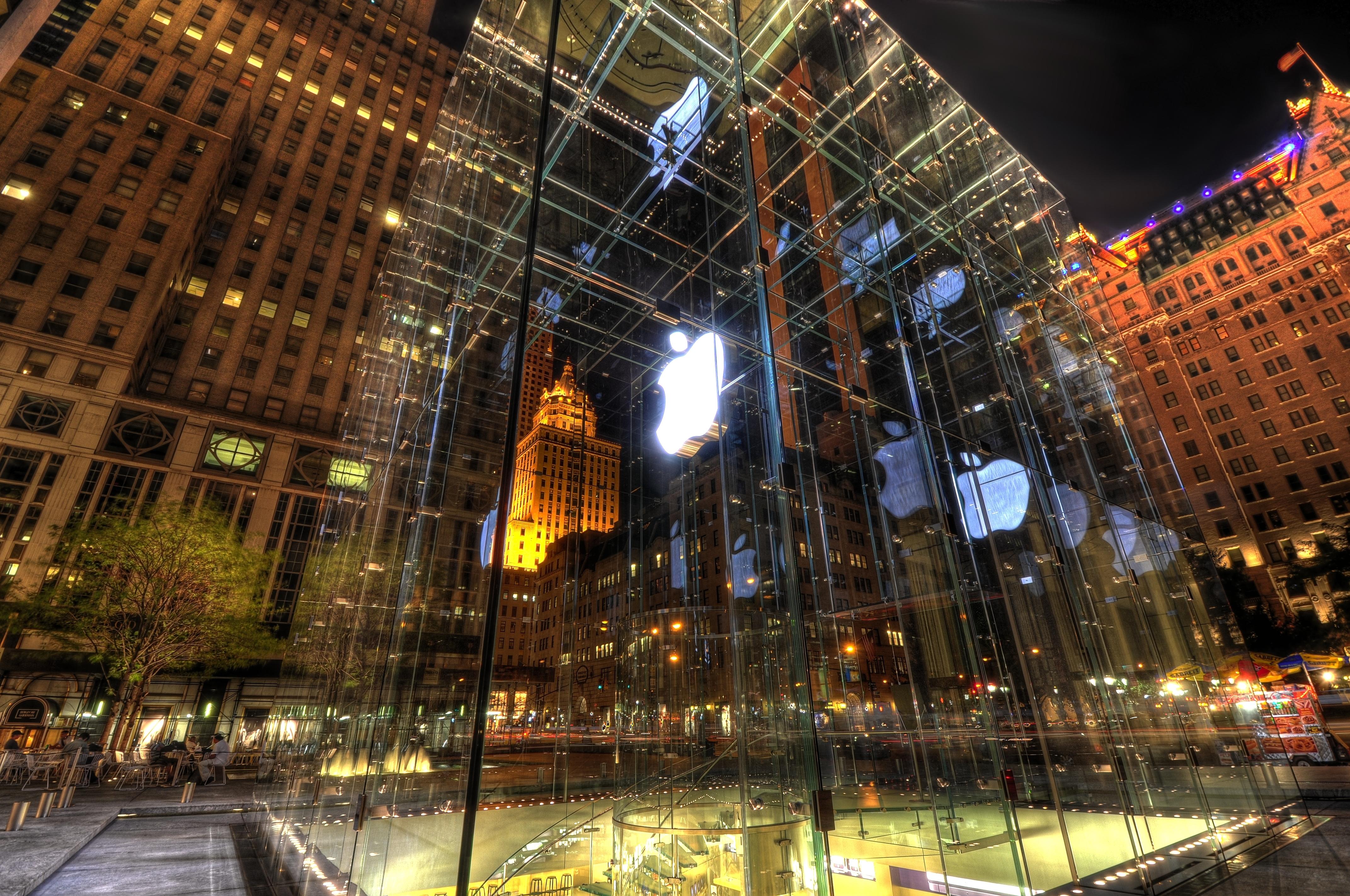 Apple Store: Light, Night, City, Technology, Building, HDR, Apple Inc., New York, Store