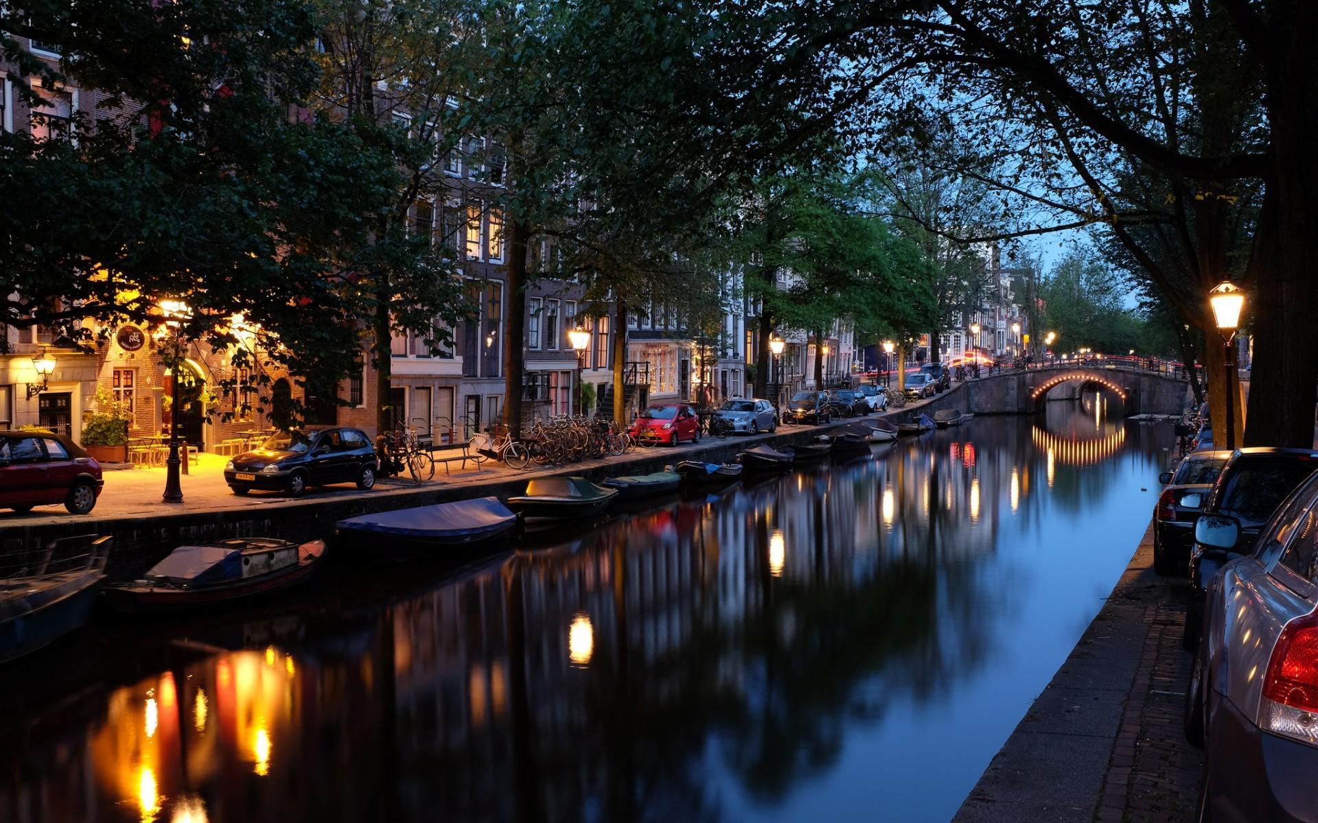 Amsterdam: River, Light, Night, City, Reflection, Amsterdam, Netherlands