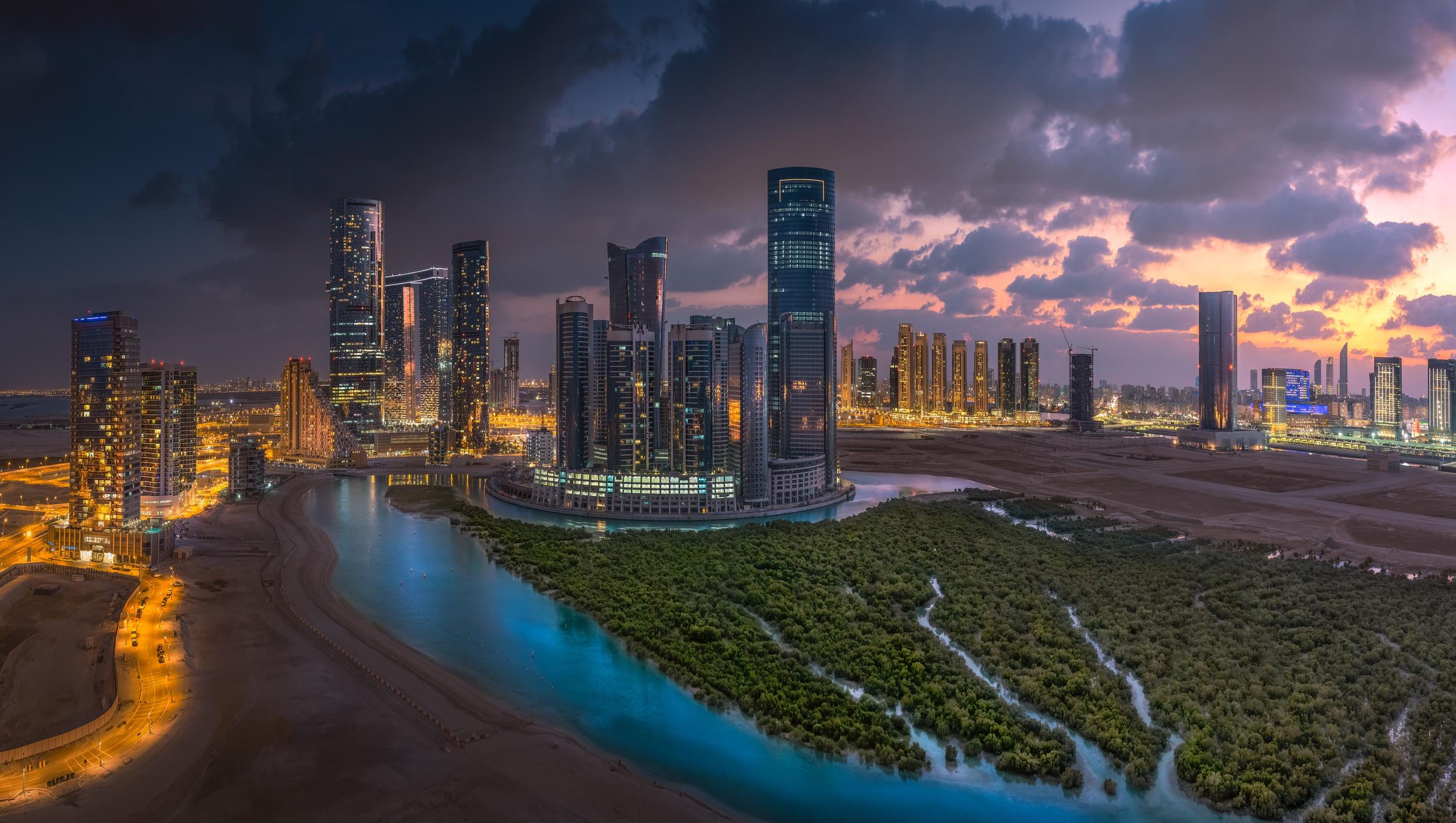 Abu Dhabi: Night, City, Building, Abu Dhabi, Skyscraper, United Arab Emirates