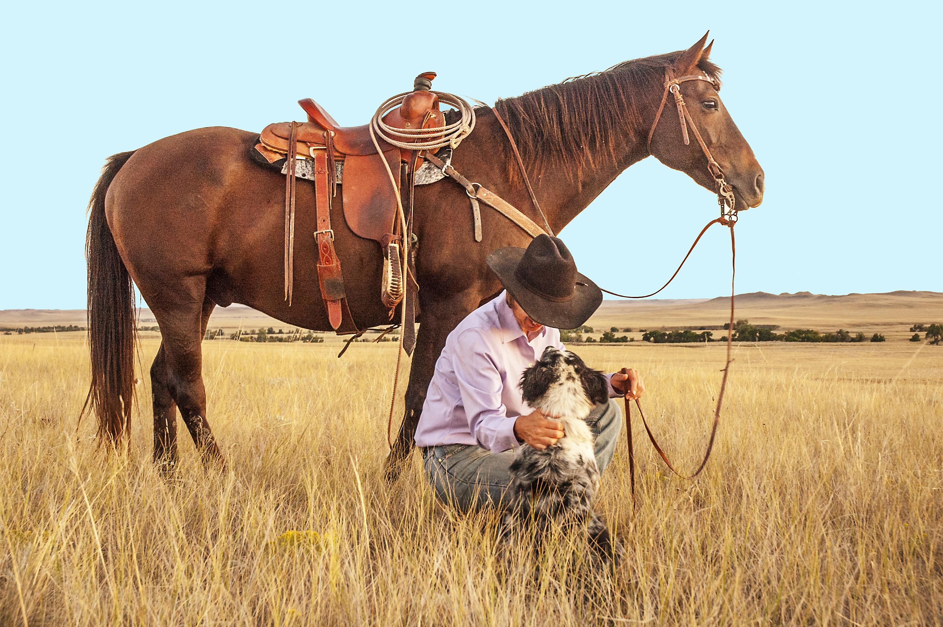 Cowboy: Dog, Cowboy, Horse, Portrait, Ranch