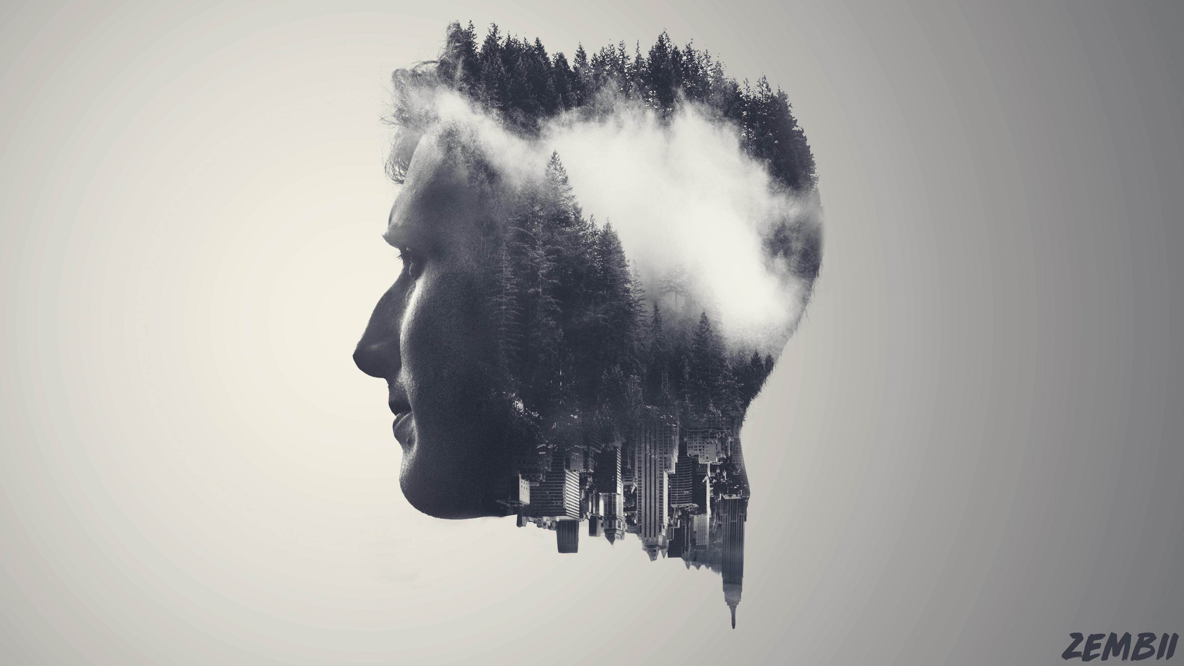 Artistic: Face, Man, Black & White, Double Exposure
