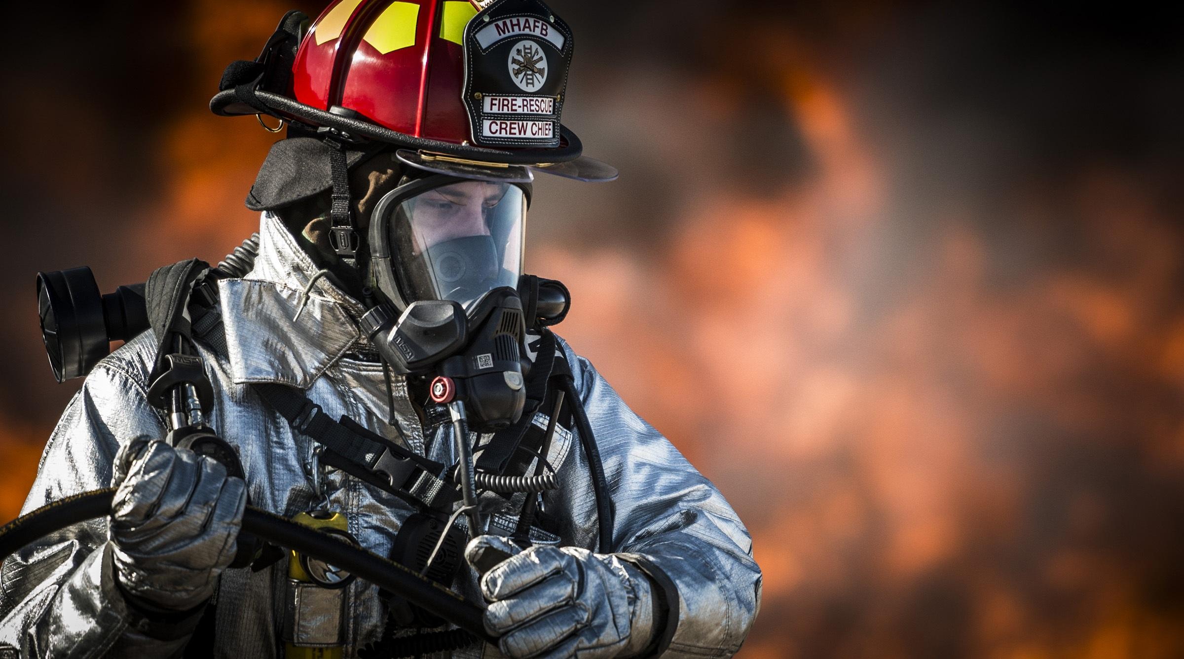 Firefighter: Man, Mask, Gas Mask, Helmet, Firefighter, Portrait