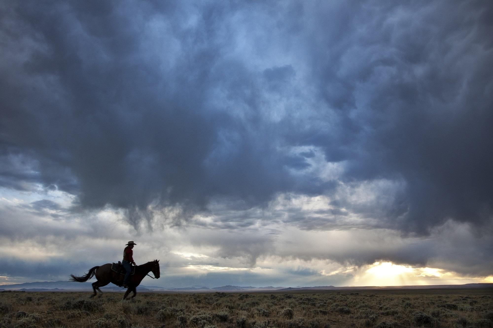 Cowboy: Sunset, Cloud, Landscape, Cowboy, Horse, Silhouette, Sky, Sunbeam, Sunlight, Dusk, Panorama