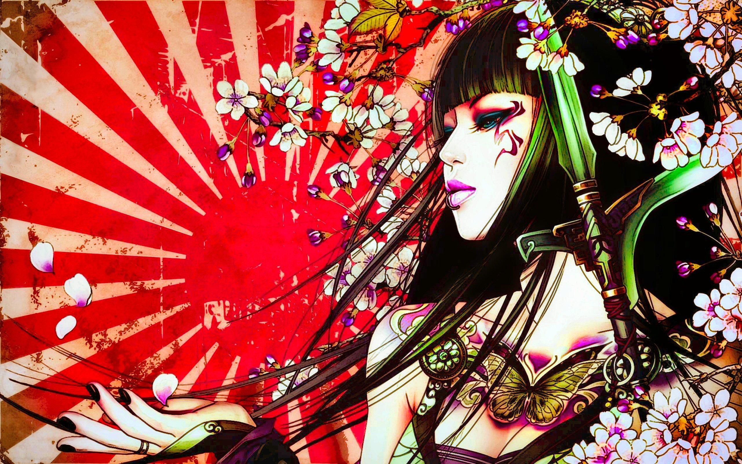 Geisha: Художні, Фентезі, Japan, Sun, Asian, Colorful, Tattoo, Oriental, Petal, Geisha