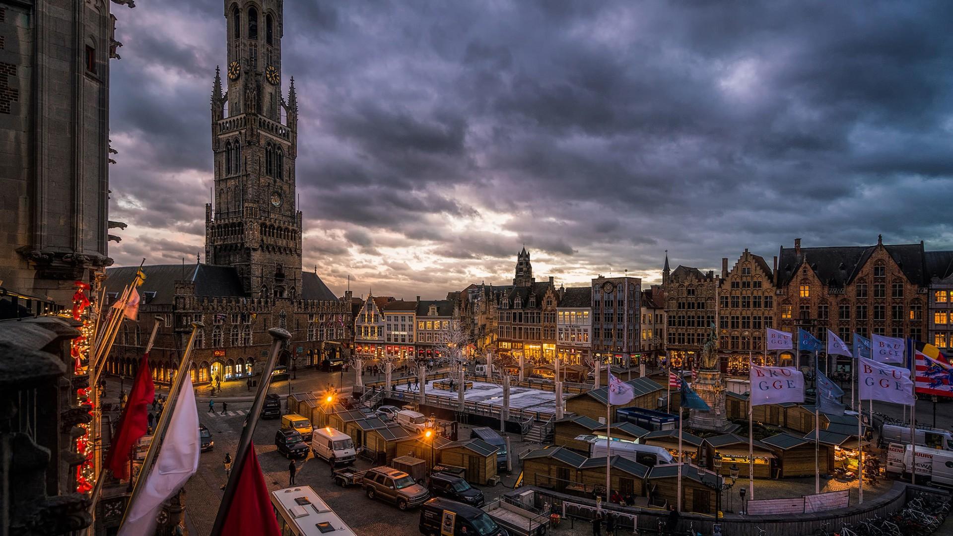 Bruges: Architecture, City, Building, Dusk, Belgium, Bruges, Square