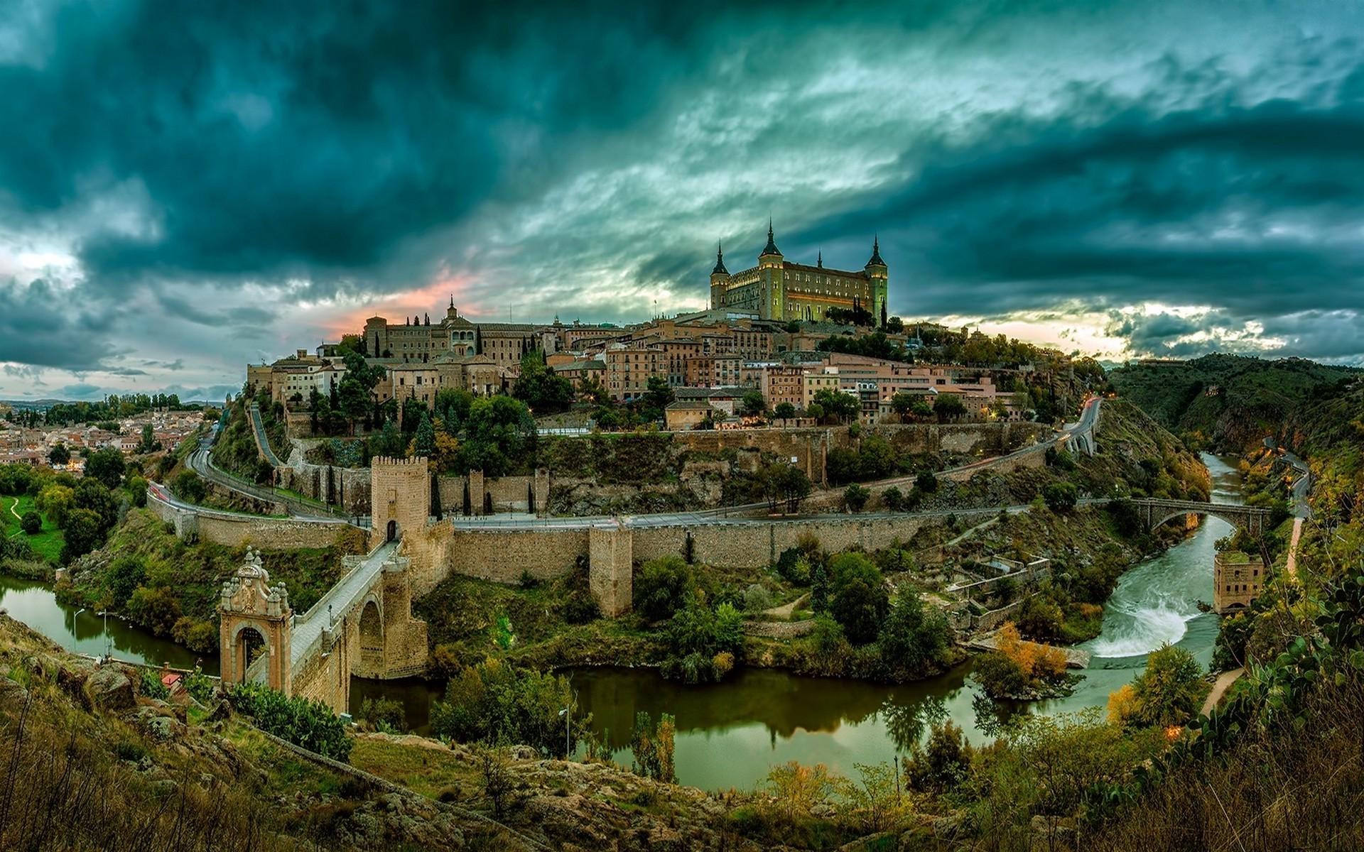 Toledo: Bridge, River, Mountain, City, Landscape, Castle, Tree, Green, Building, Man Made, Spain, Road, House, Toledo