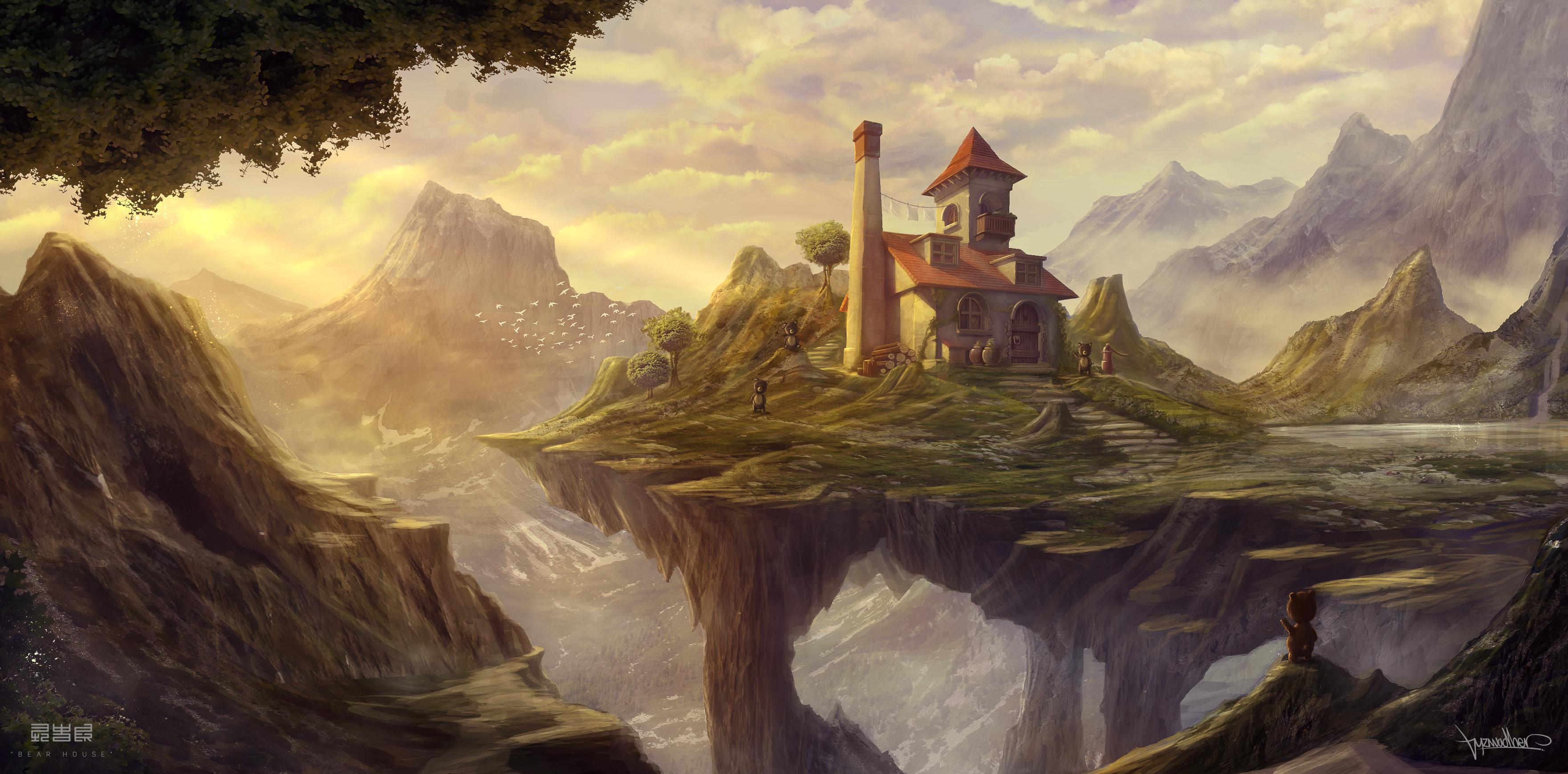 House: Гори, Landscape, Bear, House, Scenery
