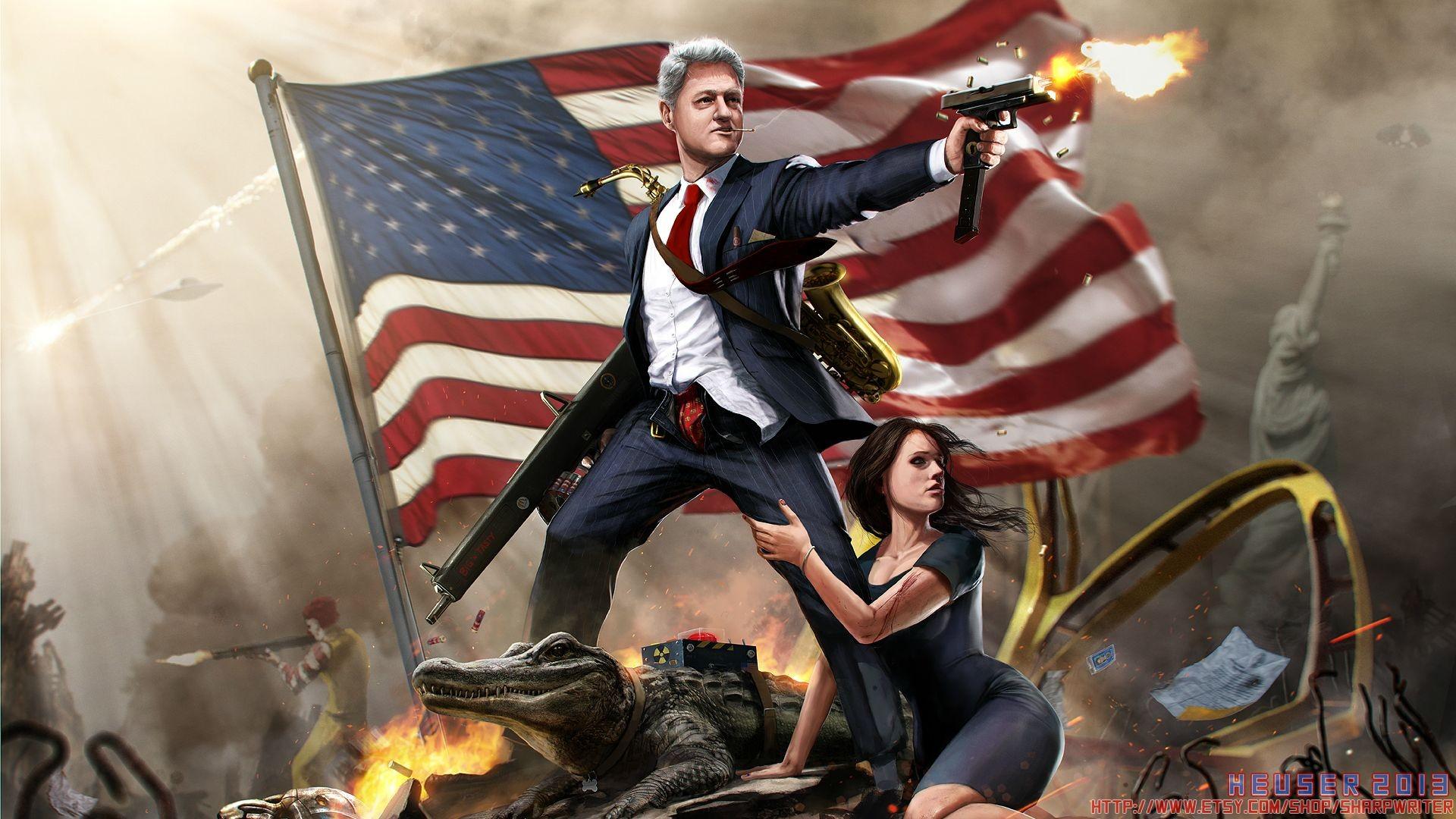 Politics: Artistic, Fantasy, President, American Flag, Bill Clinton