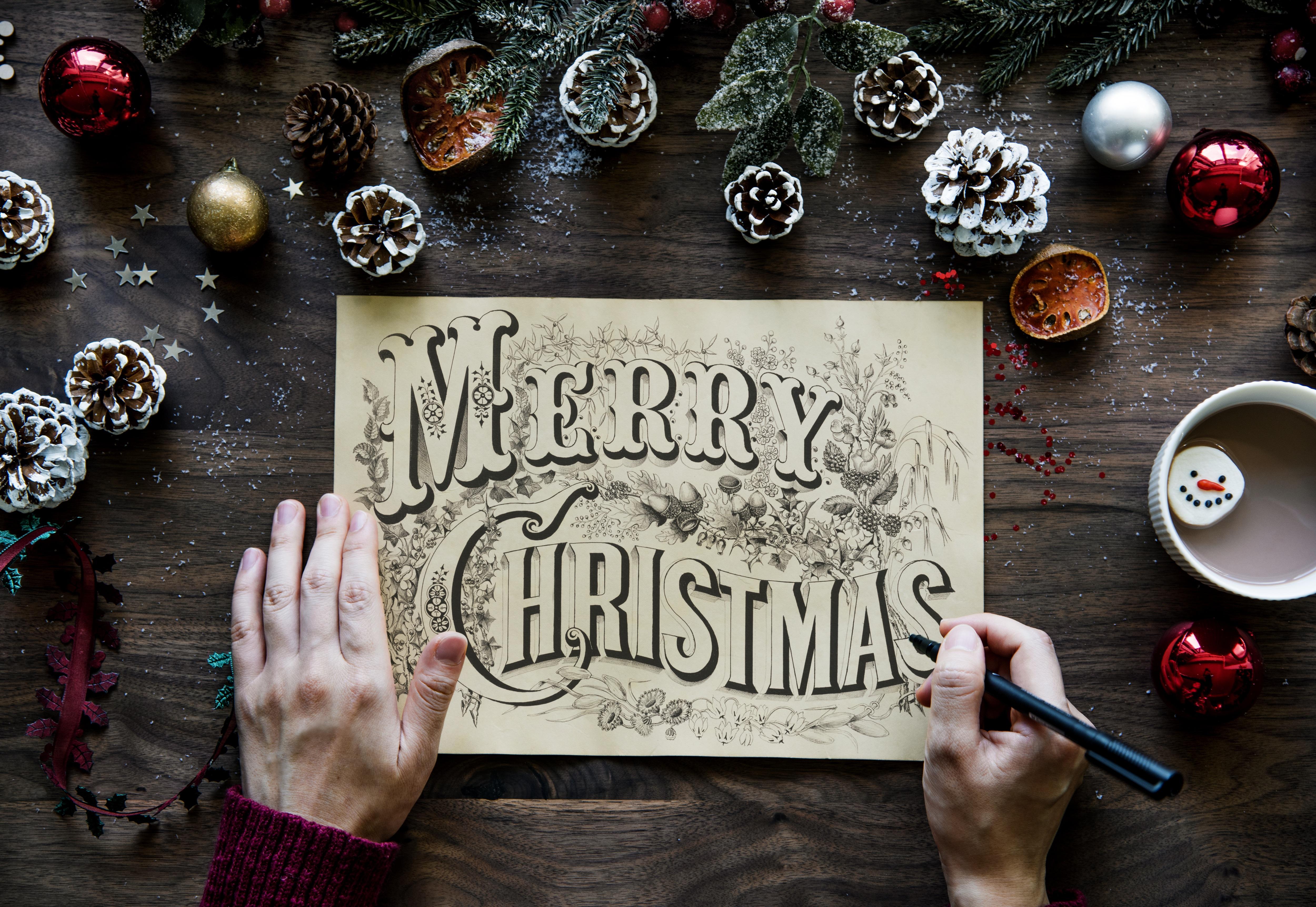 Christmas: Drawing, Christmas, Hand, Pine Cone, Merry Christmas