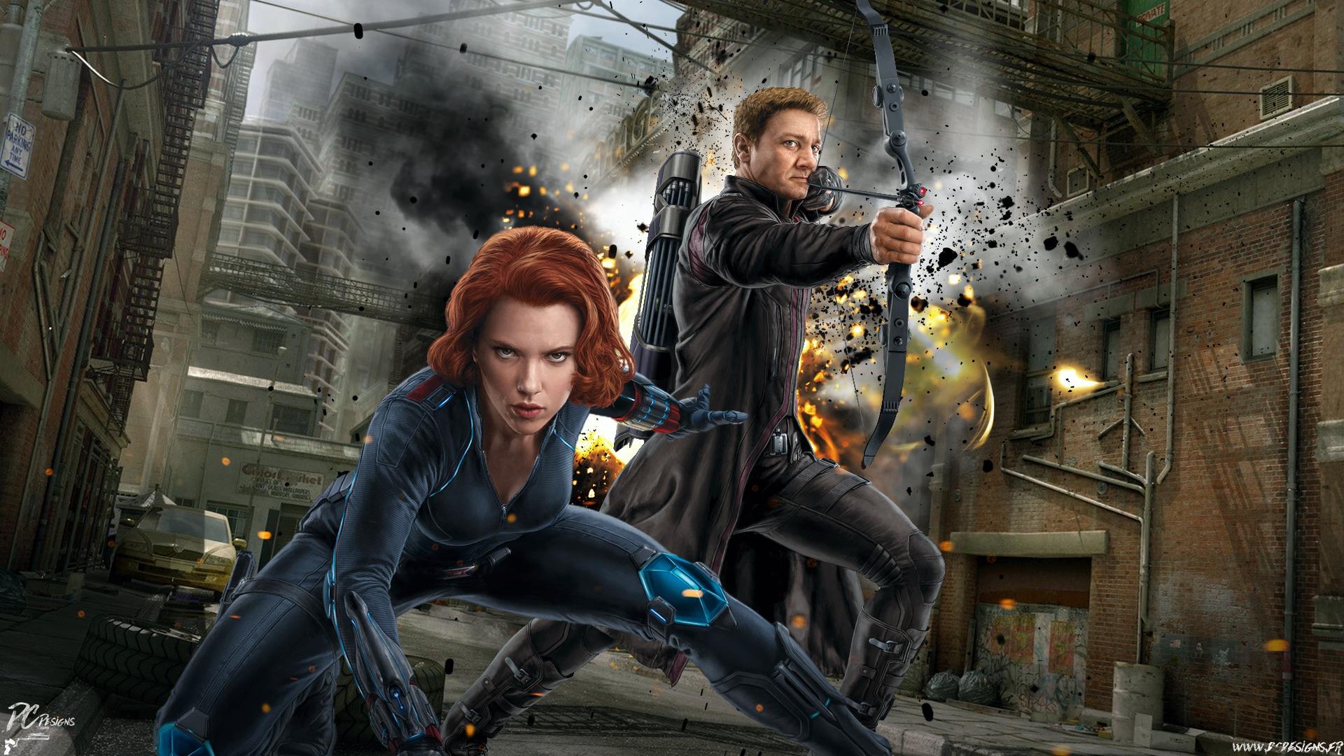 Scarlett Johansson: Avengers, Black Widow, Hawkeye, Scarlett Johansson, Дівчата, Avengers: Age of Ultron, Fan Art