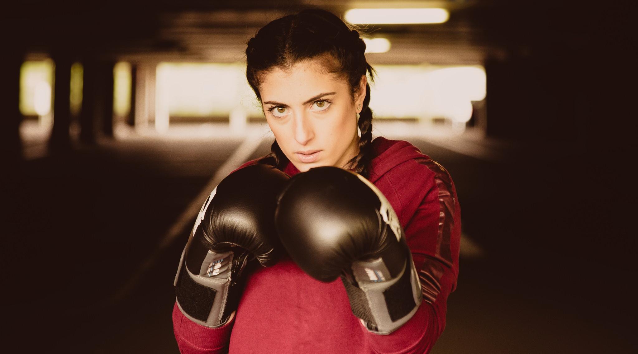 Boxing: Girl, Brown Eyes, Brunette, Woman, Depth Of Field, Braid, Boxing