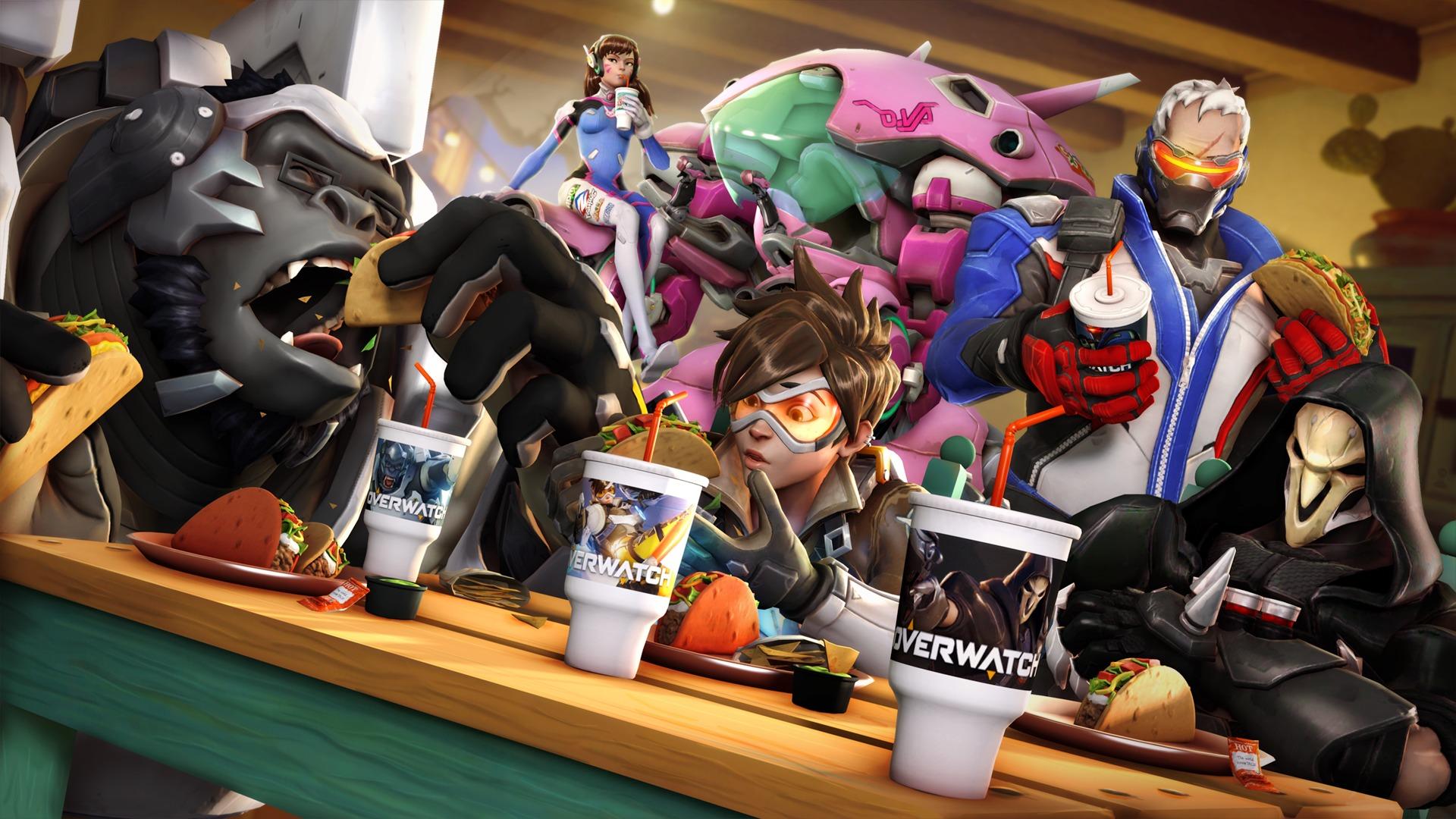 Overwatch: Tracer, D.Va, Reaper, Winston, Soldier: 76