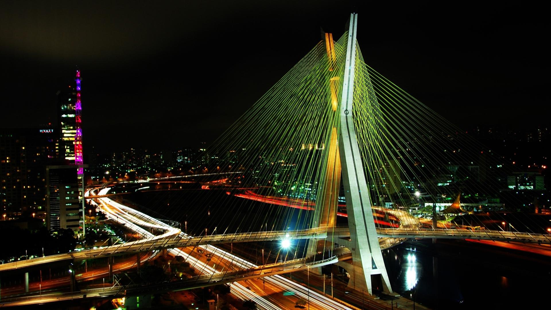 Bridge: Bridge, Light, Night, City, Cityscape, Highway, Freeway, Sao Paulo