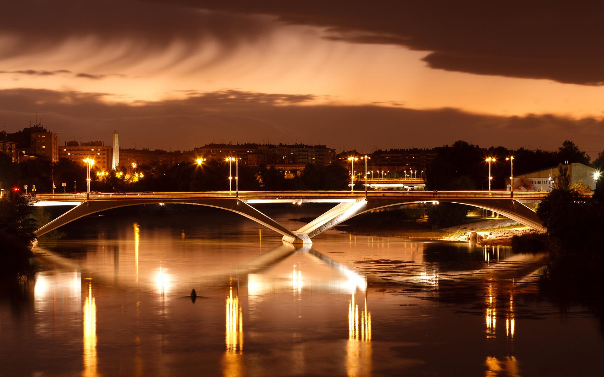 Bridge: River, Light, Night, City
