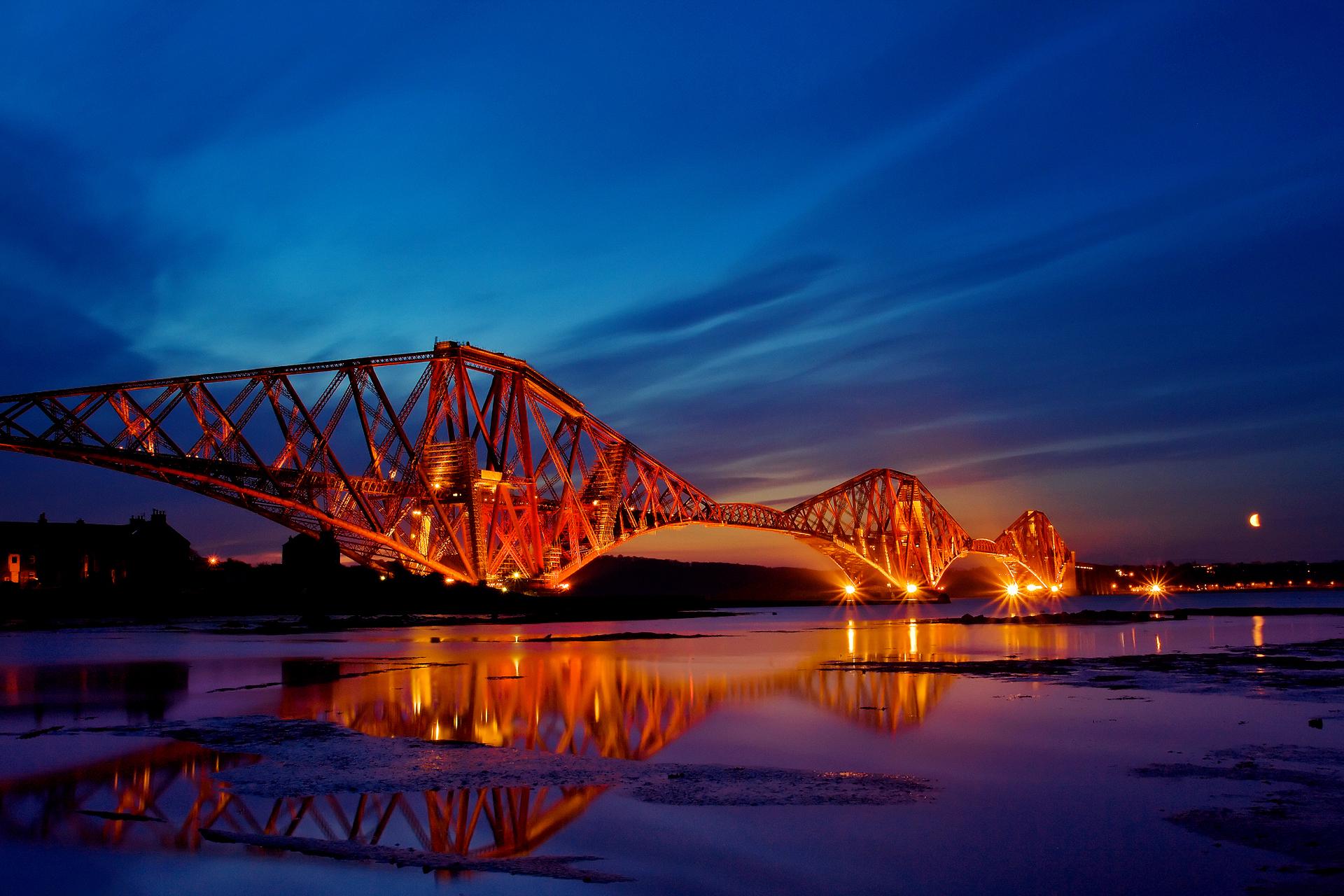 Bridge: Bridge, Night, Sunset, City, Scotland