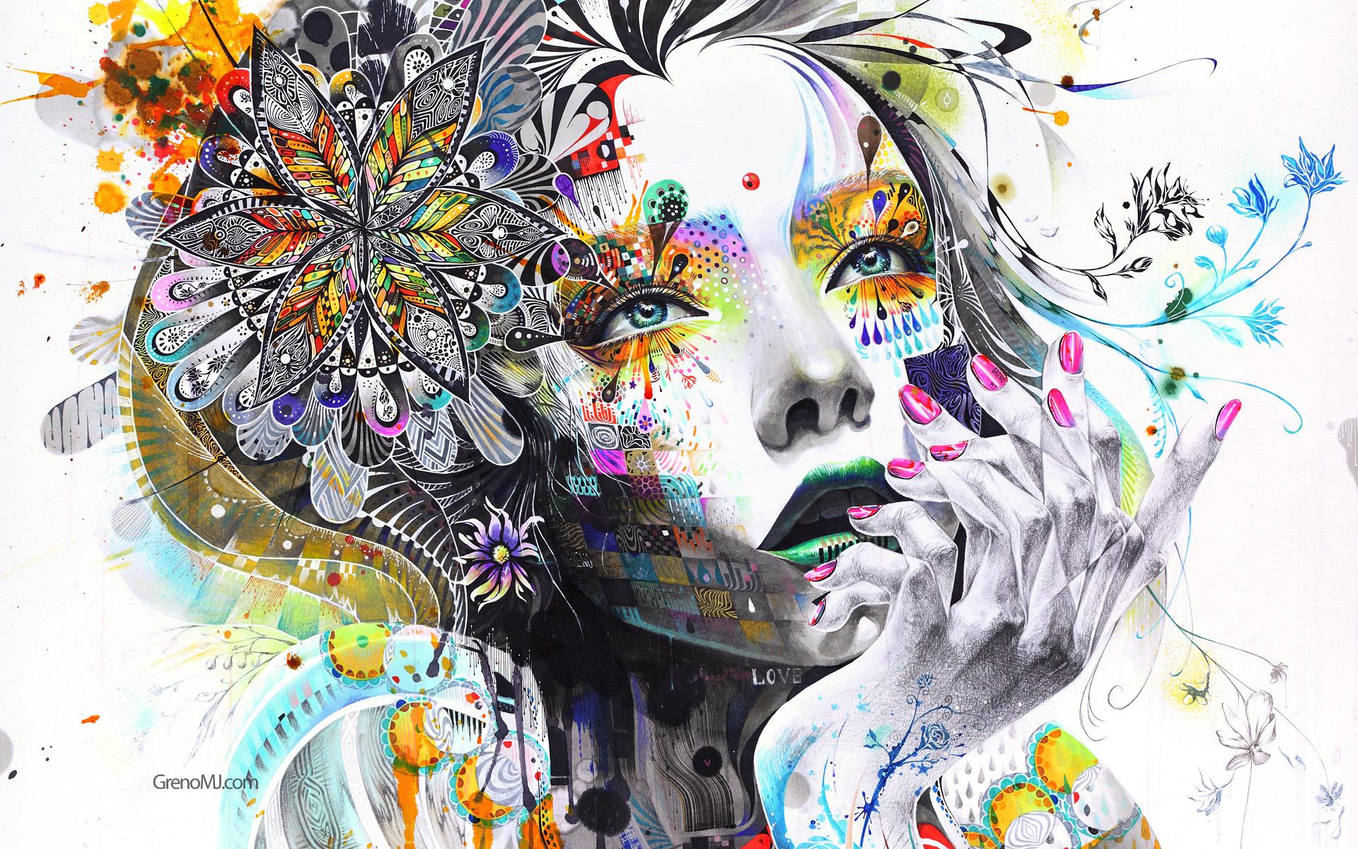 Women: Artistic, Face, Flower, Woman, Colors, Colorful, Portrait, Surrealism, Minjae Lee