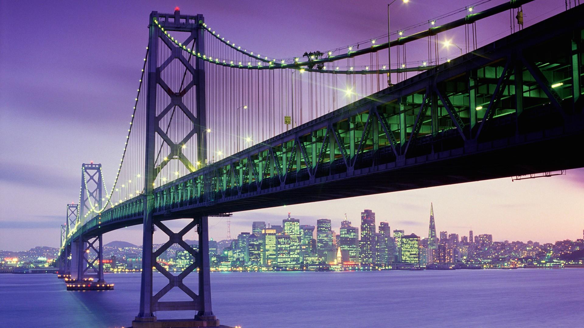 Bridge: Bridge, Light, City, Man Made, Dusk