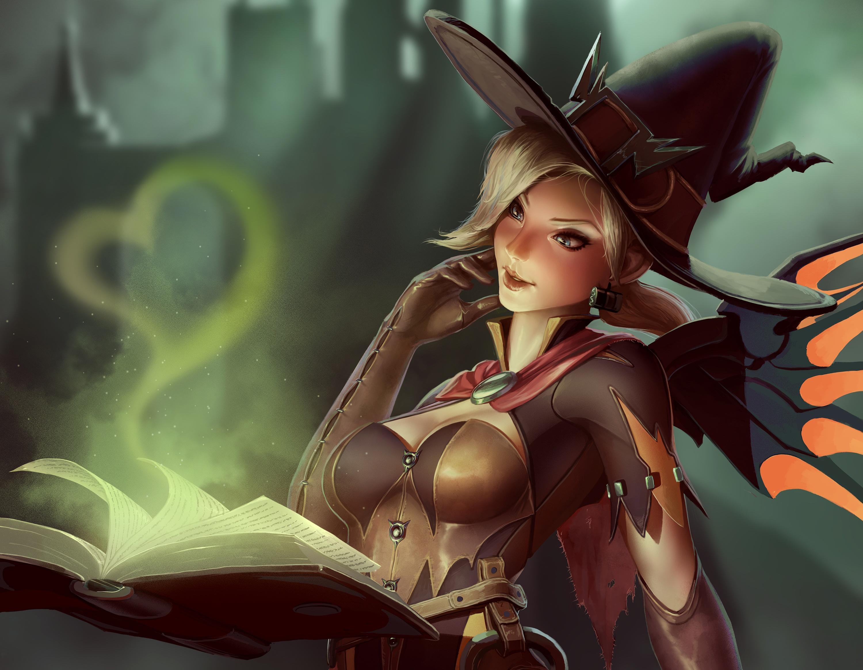 Overwatch: Блондинки, Book, Блакитні очі, Witch, Mercy, Magic, Witch Hat