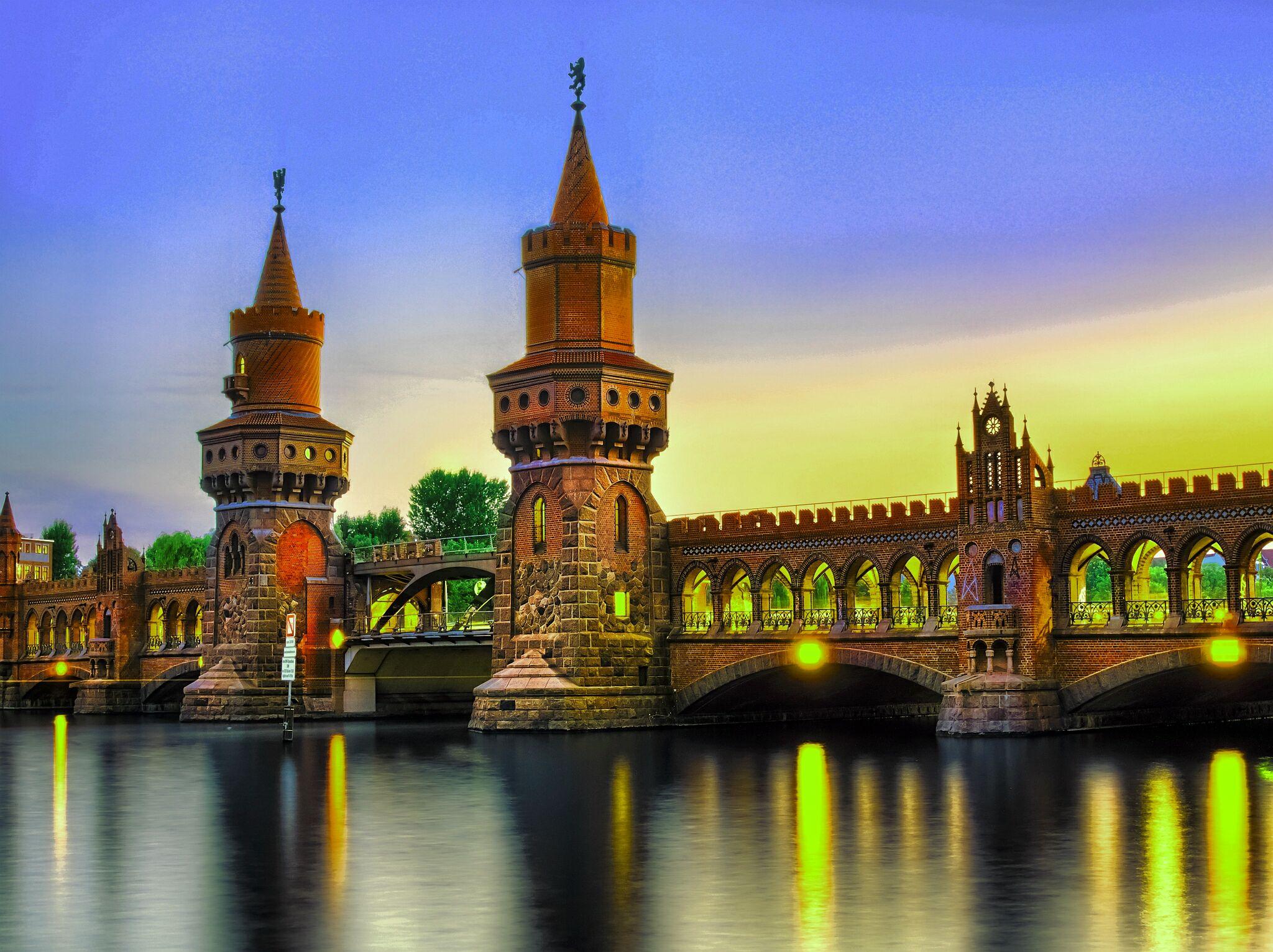 Bridge: Bridge, River, Light, Night, City, Berlin, Germany, Spree